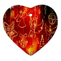 Christmas Widescreen Decoration Heart Ornament (two Sides) by Nexatart