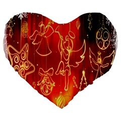 Christmas Widescreen Decoration Large 19  Premium Flano Heart Shape Cushions by Nexatart