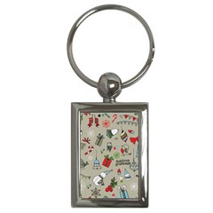 Christmas Xmas Pattern Key Chains (rectangle)
