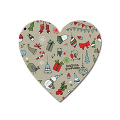 Christmas Xmas Pattern Heart Magnet