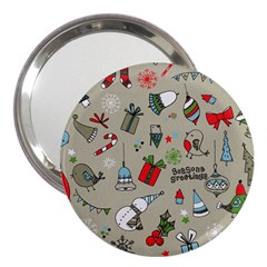 Christmas Xmas Pattern 3  Handbag Mirrors by Nexatart