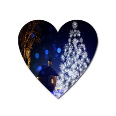 Christmas Card Christmas Atmosphere Heart Magnet by Nexatart