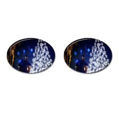 Christmas Card Christmas Atmosphere Cufflinks (oval) by Nexatart