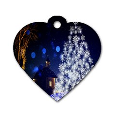 Christmas Card Christmas Atmosphere Dog Tag Heart (two Sides) by Nexatart