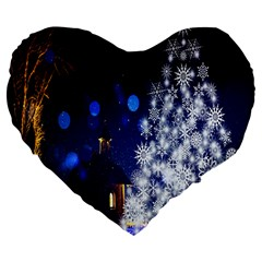 Christmas Card Christmas Atmosphere Large 19  Premium Flano Heart Shape Cushions by Nexatart