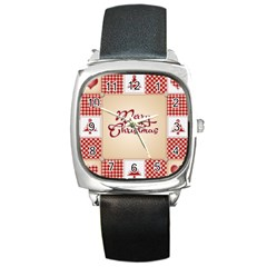 Christmas Xmas Patterns Pattern Square Metal Watch by Nexatart