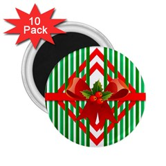 Christmas Gift Wrap Decoration Red 2 25  Magnets (10 Pack)  by Nexatart