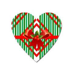 Christmas Gift Wrap Decoration Red Heart Magnet by Nexatart