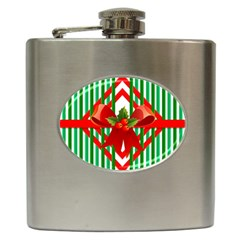 Christmas Gift Wrap Decoration Red Hip Flask (6 Oz) by Nexatart