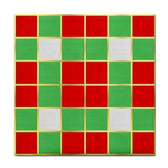 Christmas Fabric Textile Red Green Tile Coasters