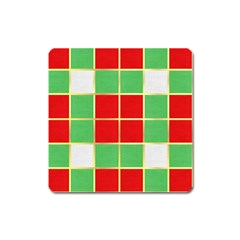 Christmas Fabric Textile Red Green Square Magnet by Nexatart