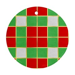 Christmas Fabric Textile Red Green Round Ornament (two Sides)