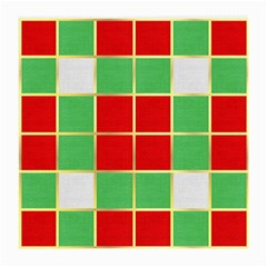 Christmas Fabric Textile Red Green Medium Glasses Cloth