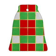 Christmas Fabric Textile Red Green Ornament (bell) by Nexatart