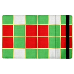 Christmas Fabric Textile Red Green Apple Ipad 3/4 Flip Case by Nexatart