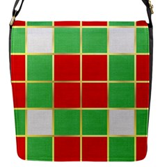 Christmas Fabric Textile Red Green Flap Messenger Bag (s)