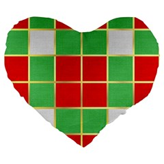 Christmas Fabric Textile Red Green Large 19  Premium Flano Heart Shape Cushions by Nexatart