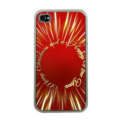 Christmas Greeting Card Star Apple Iphone 4 Case (clear)