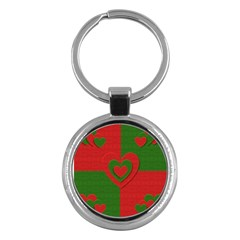 Christmas Fabric Hearts Love Red Key Chains (round)