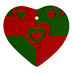 Christmas Fabric Hearts Love Red Heart Ornament (two Sides) by Nexatart