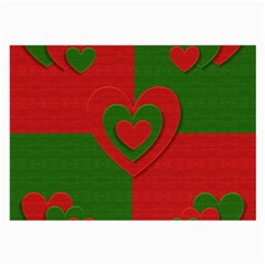 Christmas Fabric Hearts Love Red Large Glasses Cloth (2 Side) by Nexatart