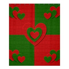 Christmas Fabric Hearts Love Red Shower Curtain 60  X 72  (medium)