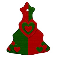 Christmas Fabric Hearts Love Red Ornament (christmas Tree)  by Nexatart