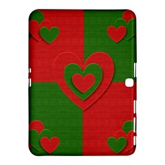Christmas Fabric Hearts Love Red Samsung Galaxy Tab 4 (10 1 ) Hardshell Case  by Nexatart