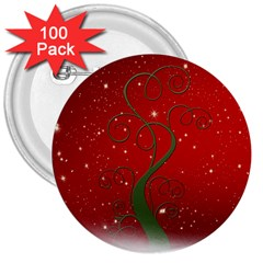 Christmas Modern Day Snow Star Red 3  Buttons (100 Pack)  by Nexatart