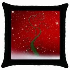 Christmas Modern Day Snow Star Red Throw Pillow Case (black) by Nexatart