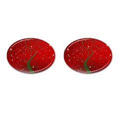 Christmas Modern Day Snow Star Red Cufflinks (oval) by Nexatart