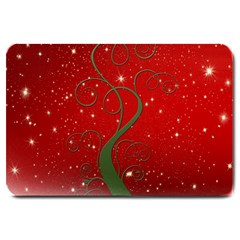 Christmas Modern Day Snow Star Red Large Doormat  by Nexatart