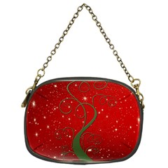 Christmas Modern Day Snow Star Red Chain Purses (one Side)
