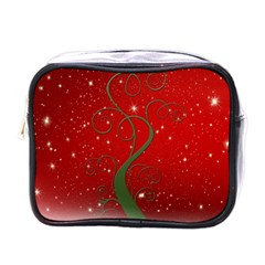 Christmas Modern Day Snow Star Red Mini Toiletries Bags by Nexatart