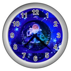 Christmas Nicholas Ball Wall Clocks (silver)  by Nexatart