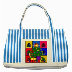 Christmas Ornaments Advent Ball Striped Blue Tote Bag