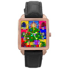 Christmas Ornaments Advent Ball Rose Gold Leather Watch  by Nexatart