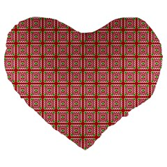 Christmas Paper Wrapping Pattern Large 19  Premium Flano Heart Shape Cushions by Nexatart