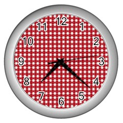 Christmas Paper Wrapping Paper Wall Clocks (silver)  by Nexatart