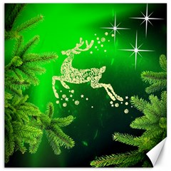 Christmas Reindeer Happy Decoration Canvas 16  X 16   by Nexatart