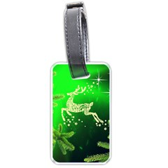 Christmas Reindeer Happy Decoration Luggage Tags (one Side)  by Nexatart