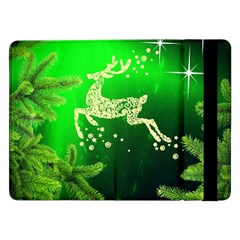 Christmas Reindeer Happy Decoration Samsung Galaxy Tab Pro 12 2  Flip Case by Nexatart
