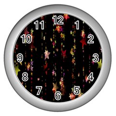 Christmas Star Advent Golden Wall Clocks (silver)  by Nexatart