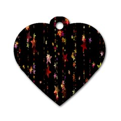 Christmas Star Advent Golden Dog Tag Heart (two Sides) by Nexatart