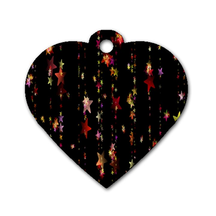 Christmas Star Advent Golden Dog Tag Heart (Two Sides)