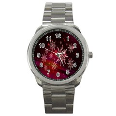Christmas Snowflake Ice Crystal Sport Metal Watch by Nexatart