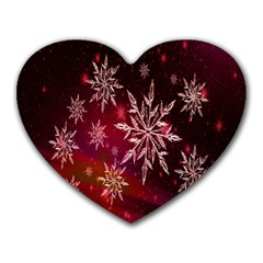 Christmas Snowflake Ice Crystal Heart Mousepads