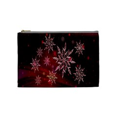 Christmas Snowflake Ice Crystal Cosmetic Bag (medium)  by Nexatart