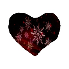 Christmas Snowflake Ice Crystal Standard 16  Premium Heart Shape Cushions by Nexatart