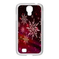 Christmas Snowflake Ice Crystal Samsung Galaxy S4 I9500/ I9505 Case (white) by Nexatart